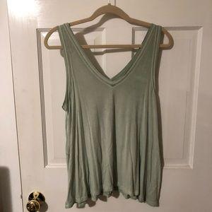 Women's V-neck tank top: light green